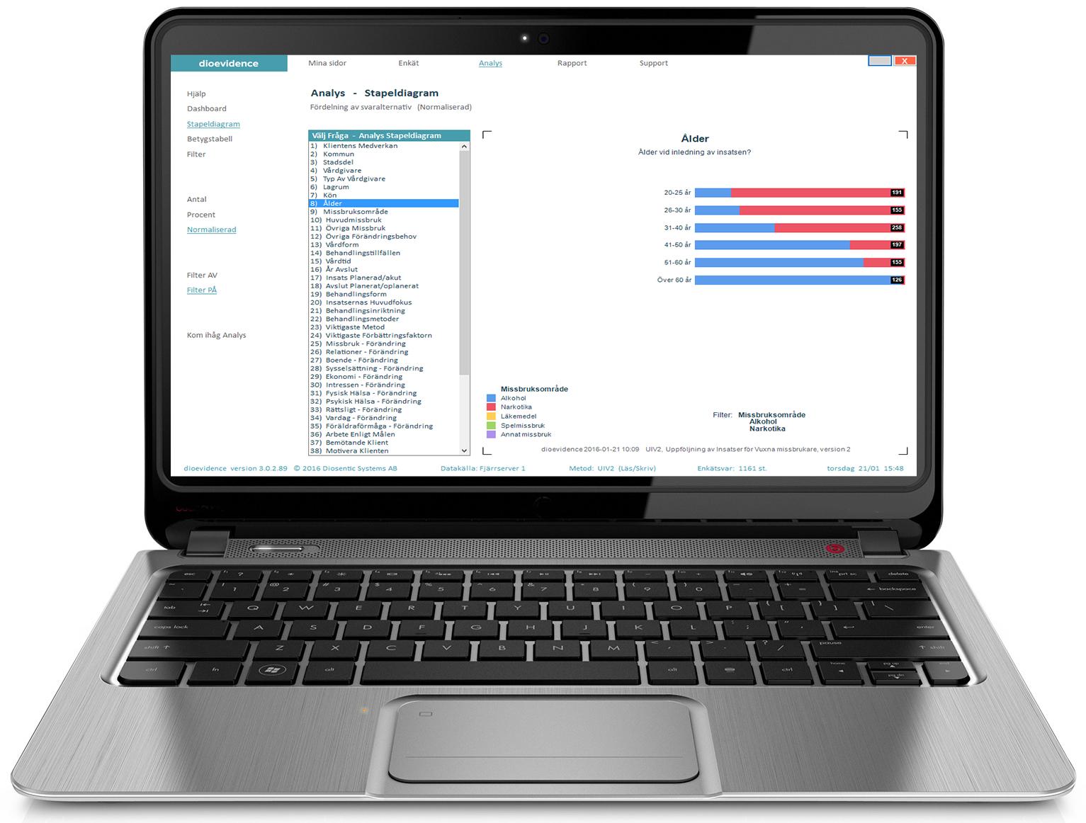 pc laptop analys dioevidence systematisk uppföljning och kvalitetsutveckling av brukarupplevd kvalitet
